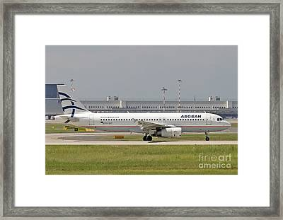 Framed Print featuring the photograph Aegean Airbus A320 Sx-dvt  by Amos Dor