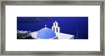 Aegean Sea Firostefani Santorini Greece Framed Print
