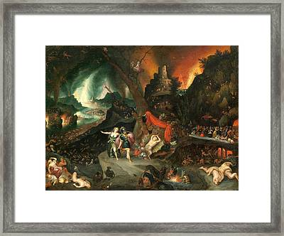 Aeneas And The Sibyl In The Underworld Framed Print by Jan Brueghel the Younger