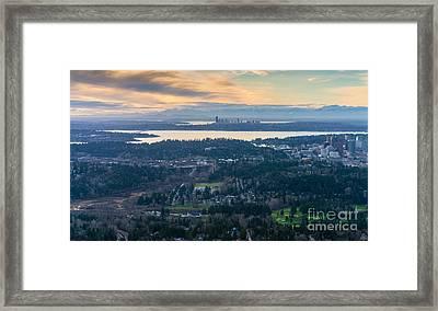 Aerial Bellevue And Seattle Skylines Framed Print by Mike Reid