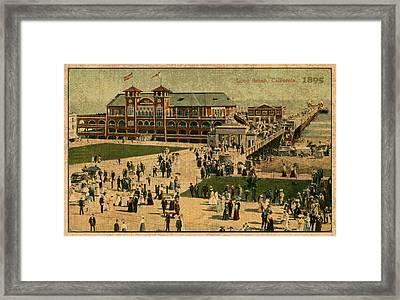 Aerial Birds Eye View Of Long Beach Pier And Beachfront California Circa 1895 Framed Print