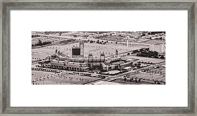 Aerial - Citizens Bank Park In Black And White Framed Print by Bill Cannon