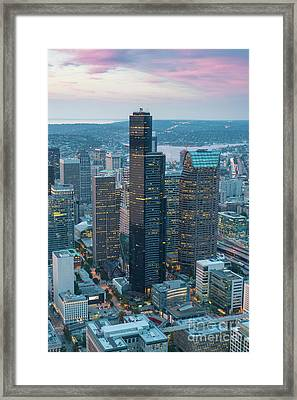 Aerial Columbia Center Seattle Framed Print by Mike Reid