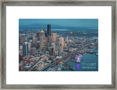 Aerial Downtown Seattle And The Great Wheel Framed Print by Mike Reid