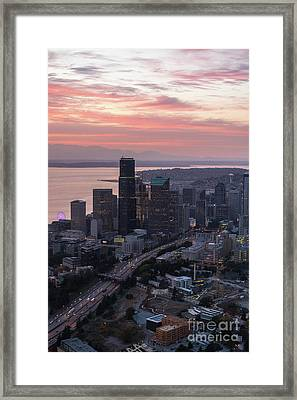 Aerial Downtown Seattle At Sunset Framed Print