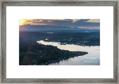 Aerial Eagle Harbor Bainbridge Island Framed Print by Mike Reid