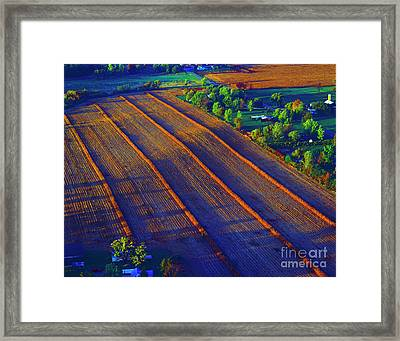 Aerial Farm Field Harvested At Sunset Framed Print by Tom Jelen