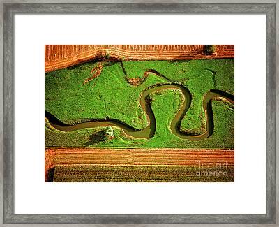 Aerial Farm Stream Framed Print