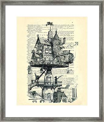 Aerial House Black And White Antique Illustration Framed Print