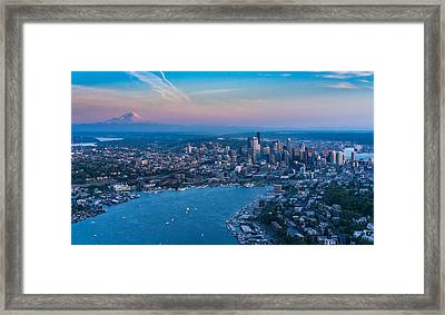 Aerial Lake Union, Rainier And Seattle Framed Print by Mike Reid