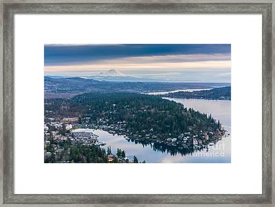Aerial Meydenbauer Bay And Rainier Framed Print by Mike Reid