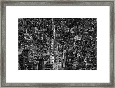 Aerial New York City 42nd Street Bw Framed Print by Susan Candelario