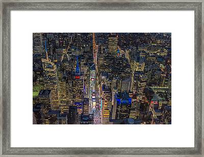 Aerial New York City 42nd Street Framed Print by Susan Candelario