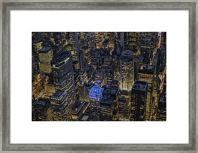 Aerial New York City Skyscrapers Framed Print by Susan Candelario