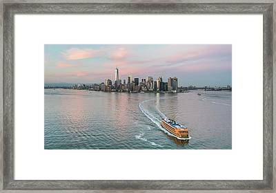 Aerial New York Sunset Framed Print by Michael Lee