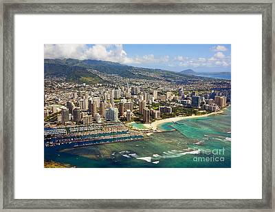 Aerial Of Honolulu Framed Print by Ron Dahlquist - Printscapes