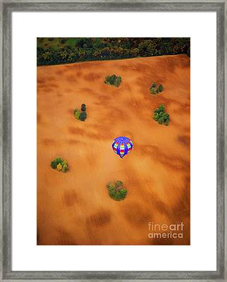 Aerial Of Hot Air Balloon Above Tilled Field Fall Framed Print by Tom Jelen