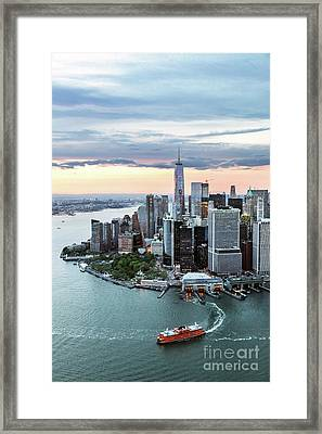 Aerial Of Lower Manhattan Skyline With Staten Island Ferry Boat, Framed Print by Matteo Colombo
