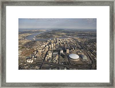Aerial Of New Orleans Looking East Framed Print by Tyrone Turner