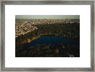 Aerial Of Prospect Park Framed Print by Melissa Farlow