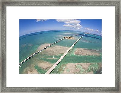 Aerial Of Seven Mile Bridge At Extreme Framed Print by Mike Theiss
