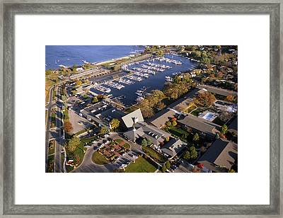 Aerial Of The Abbey Resort And Harbor - Fontana Wisconsin Framed Print