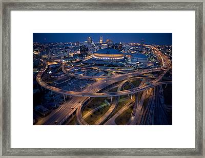 Aerial Of The Superdome In The Downtown Framed Print