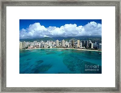 Aerial Of Waikiki Framed Print