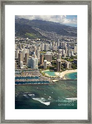 Aerial Of Waikiki Framed Print by Ron Dahlquist - Printscapes