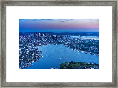 Aerial Seattle And Lake Union Framed Print by Mike Reid