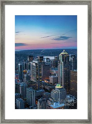 Aerial Seattle Downtown Buildings Framed Print by Mike Reid