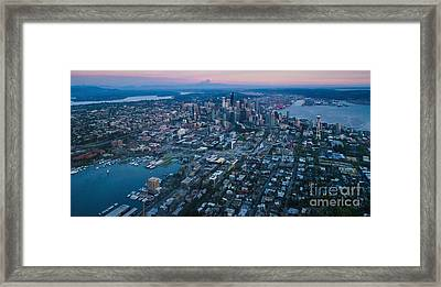 Aerial Seattle Dusk Cityscape Framed Print by Mike Reid