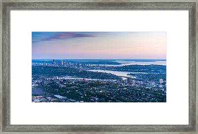 Aerial Seattle Dusk View Framed Print by Mike Reid