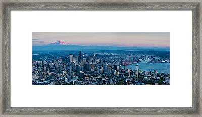 Aerial Seattle Puget Sound At Dusk Framed Print by Mike Reid