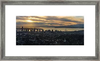 Aerial Seattle Skyline Panorama Looking West Framed Print by Mike Reid