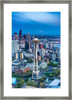 Aerial Space Needle Downtown Seattle And Rainier Framed Print by Mike Reid