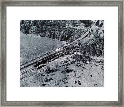 Framed Print featuring the photograph Aerial Train Wreck by Jeanne May