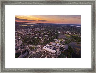 Aerial University Of Washington Campus At Sunset Framed Print by Mike Reid