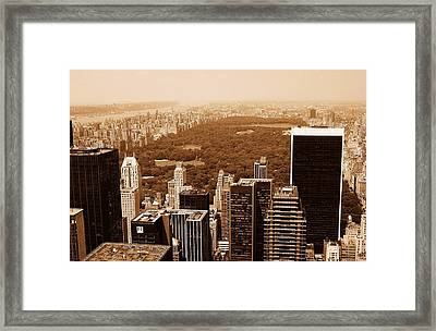 Aerial View Central Park Framed Print by Allan Einhorn