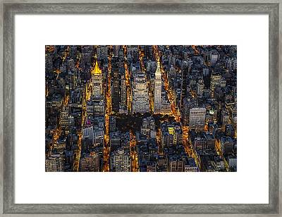 Aerial View Flatiron District Framed Print