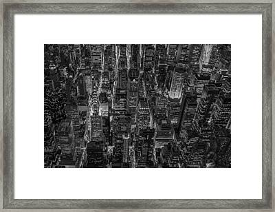 Aerial View Midtown Manhattan Nyc Bw Framed Print by Susan Candelario