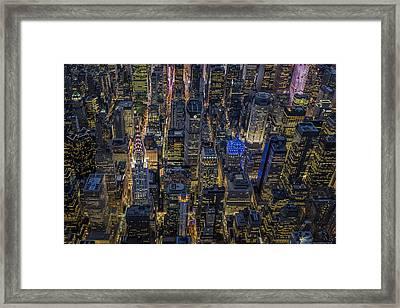 Aerial View Midtown Manhattan Nyc Framed Print by Susan Candelario