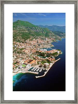 Aerial View Of A City, Monte Carlo, Monaco, France Framed Print by Medioimages/Photodisc