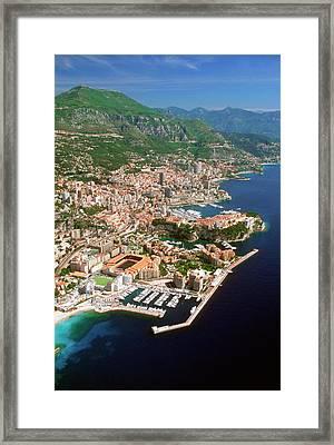 Aerial View Of A City, Monte Carlo, Monaco, France Framed Print