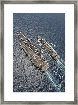 Aerial View Of Aircraft Carrier Uss Framed Print