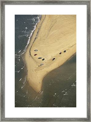 Aerial View Of Cars On The Coast Framed Print by Steve Winter