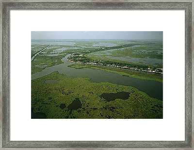 Aerial View Of Delacroix Island Framed Print
