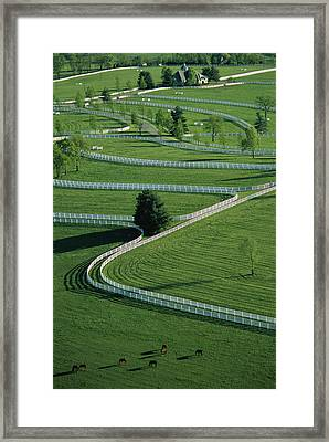 Aerial View Of Donamire Farms Fenced Framed Print by Melissa Farlow