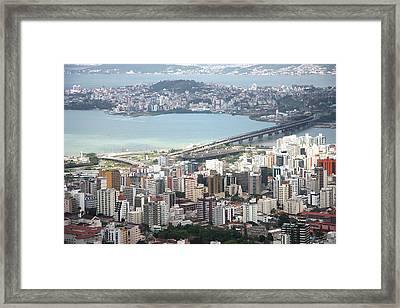 Aerial View Of Florianópolis Framed Print by DircinhaSW