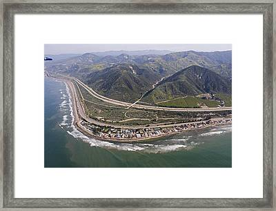 Aerial View Of Highway 1 As It Meets Framed Print by Rich Reid